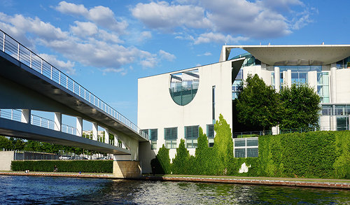 Modern white building with bridge in Berlin