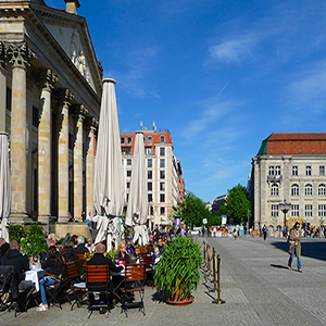City square historic street cafe location Berlin
