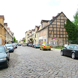 Country village street Berlin-Potsdam location